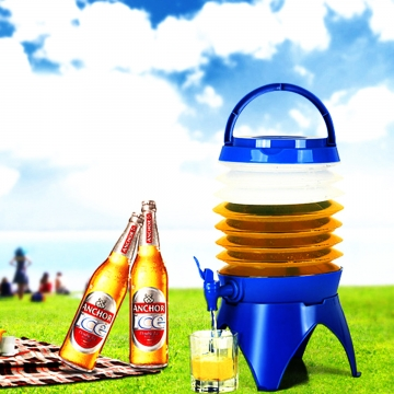 Outdoor Camping Telescopic Folding Storage Bucket Drinking Water Bucket Large Capacity Beer Barrel As Picture