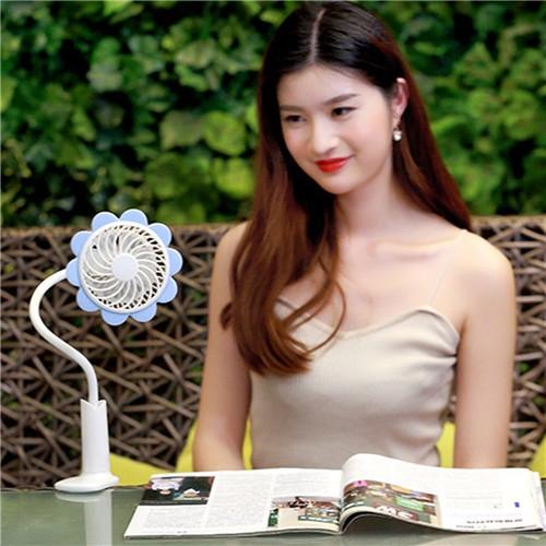Rechargeable Dormitory Bed Desk Sunflower Clip Fan Stroller Arbitrarily Bending USB Mini Fan Blue
