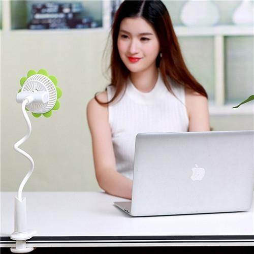 Rechargeable Dormitory Bed Desk Sunflower Clip Fan Stroller Arbitrarily Bending USB Mini Fan Green