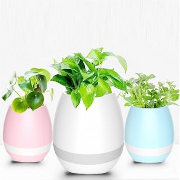 Funny Cool Gadget Bluetooth Speaker Music Flower Pot Touch Swift with Night Light Music Flower Pots Blue One size