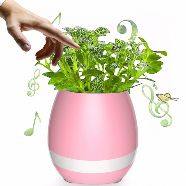 Funny Cool Gadget Bluetooth Speaker Music Flower Pot Touch Swift with Night Light Music Flower Pots Red One size