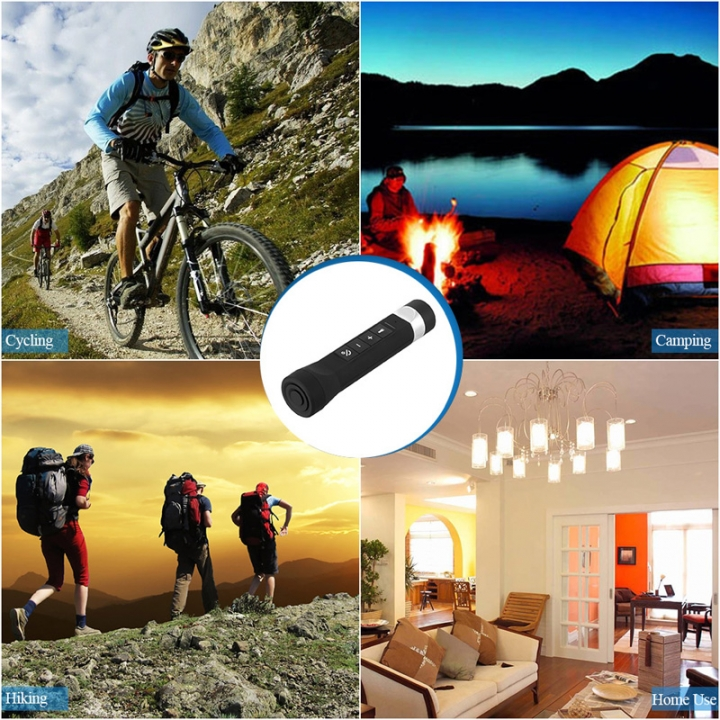 Outdoor Bluetooth Speaker with LED Flashlight Sport Stereo Portable Bicycle Wireless Speaker Black