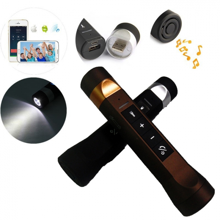 Outdoor Bluetooth Speaker with LED Flashlight Sport Stereo Portable Bicycle Wireless Speaker Brown