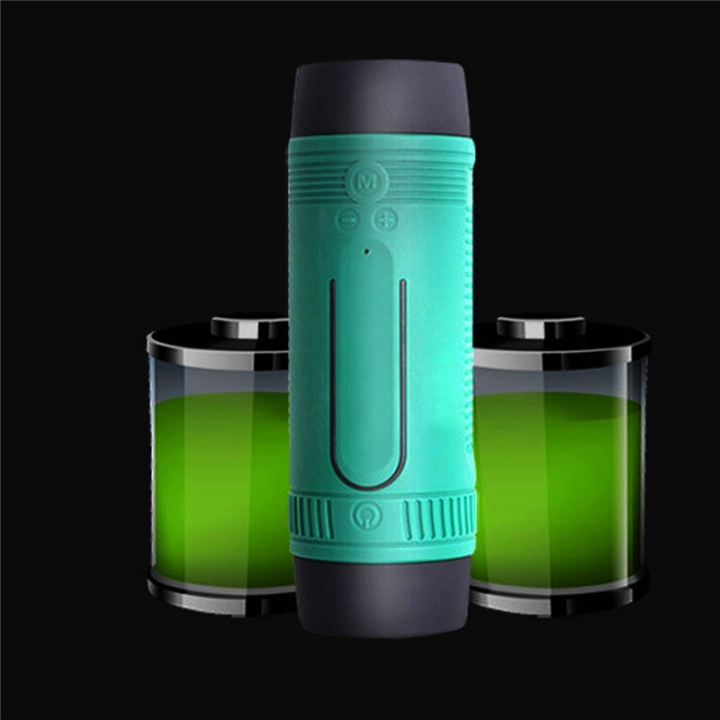 Bluetooth Speaker LED Flashlight  Portable Audio Subwoofer Waterproof Outdoor Riding Stereo Speakers Green
