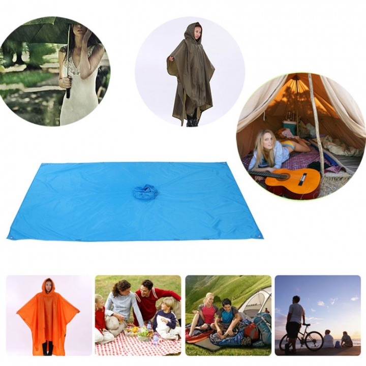 Outdoor Climbing Cycling Rain Cover Triple Backpack Climbing Raincoat Poncho Waterproof Camping Tent Blue