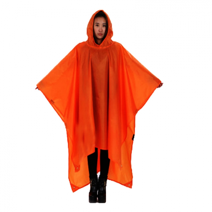 Outdoor Climbing Cycling Rain Cover Triple Backpack Climbing Raincoat Poncho Waterproof Camping Tent Orange