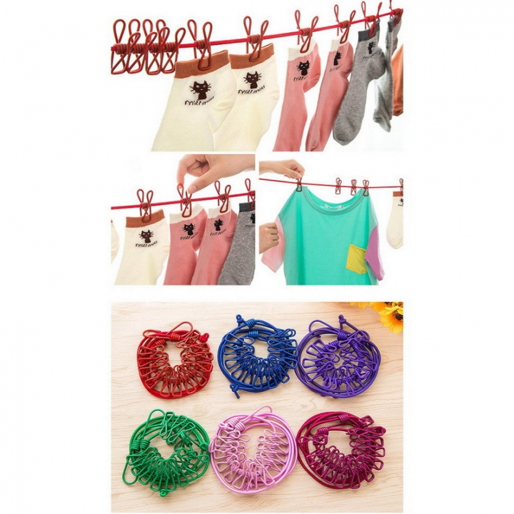 Retractable Clothesline Hanger Clothing Rope Outdoor Slip-resistant Windproof Clothing  Clothespin Pink