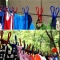 Retractable Clothesline Hanger Clothing Rope Outdoor Slip-resistant Windproof Clothing  Clothespin Colours