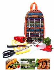 Outdoor Cookware Backpack Portable Camping Knife Scissors Fork Kitchenware Set