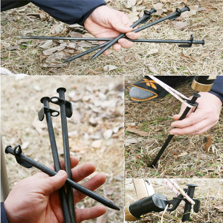 Steel Camping Tent Nail Stakes Pegs Canopy Stake Tent Stake Peg for Outdoor Camping Canopies Garden Black-40 20-40cm