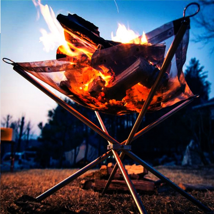 Outdoor Stove Burning Fire Portable Folding Wood Stove Outdoor Heating Furnace Stainless Steel At Picture