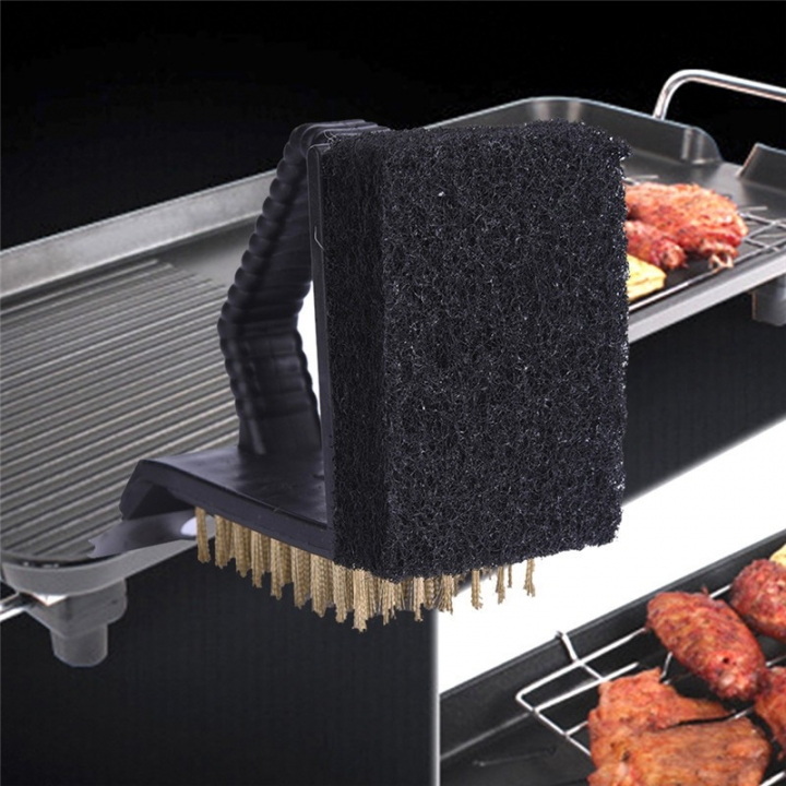 Triple Barbecue Grill BBQ Brush Multi-function Copper Steel Cleaning Brush Barbeque Cleaner At Picture