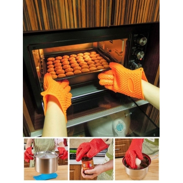 Kitchen Cooking Microwave Oven Non-slip Mitt Silicone Insulated Glove Colorful Kitchen Accessories Random Color-Single