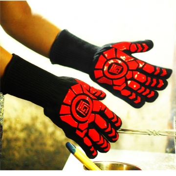 Oven Gloves Heat Resistant Gloves Microwave Oven Gloves Silicone BBQ Grill Bake Gloves Random Color-1 pair