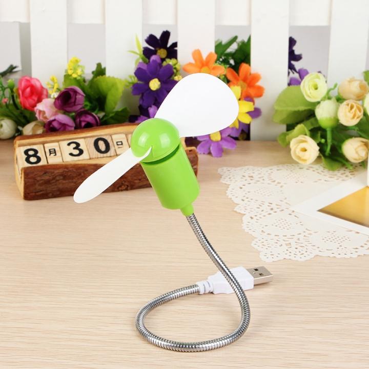 USB Fan Summer USB Mini Fan Serpentine Fan Small Mute Fan Soft Blade Flexible Student Party Gifts Green