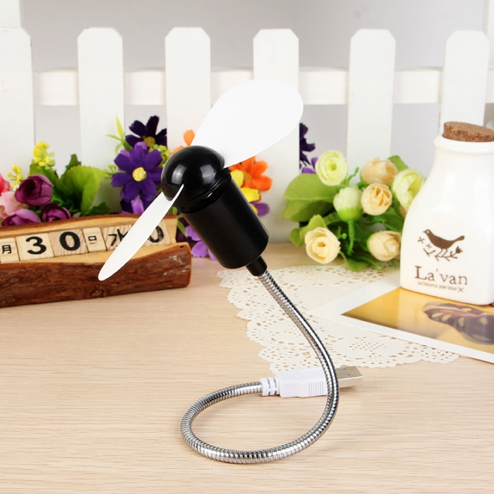 USB Fan Summer USB Mini Fan Serpentine Fan Small Mute Fan Soft Blade Flexible Student Party Gifts Black