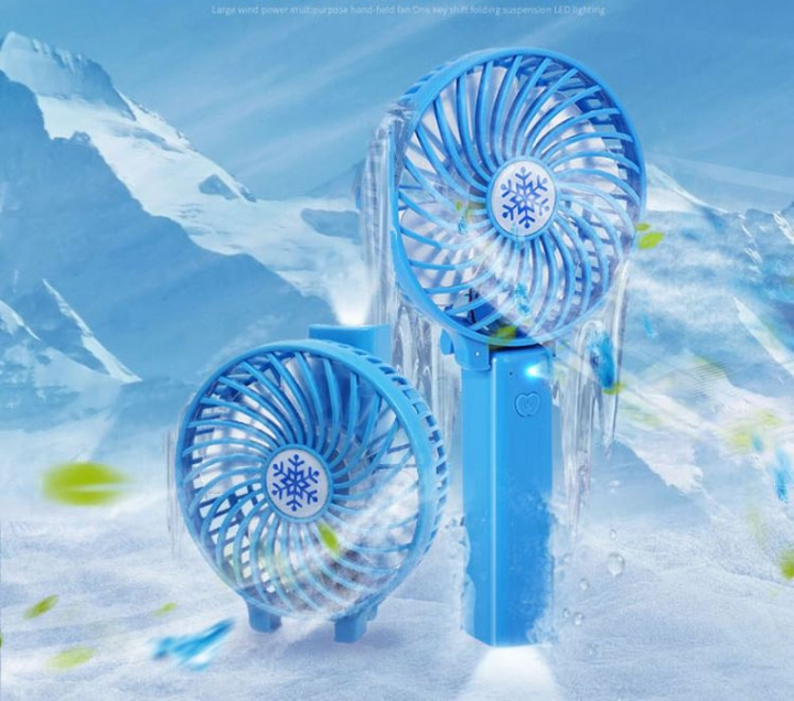 Hand-held Portable Lithium Battery Life USB Fan Students Dormitory Rechargeable Mini Fan Blue