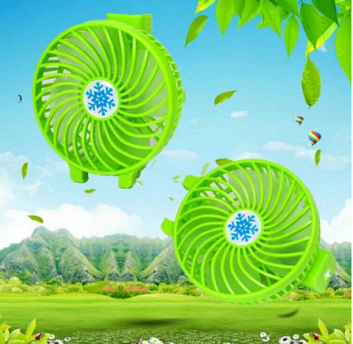 Hand-held Portable Lithium Battery Life USB Fan Students Dormitory Rechargeable Mini Fan Green