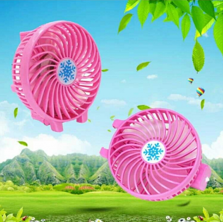 Hand-held Portable Lithium Battery Life USB Fan Students Dormitory Rechargeable Mini Fan Pink