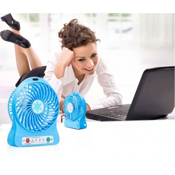 Mini Rechargeable Small Fan Lithium Battery USB Portable Small Fan Students Dormitory Hand Fan Blue