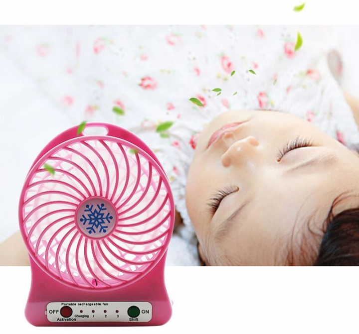 Mini Rechargeable Small Fan Lithium Battery USB Portable Small Fan Students Dormitory Hand Fan Pink