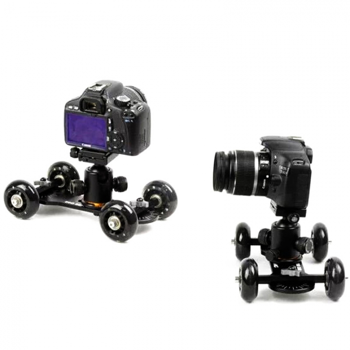 Mini Desktop Camera Rail Car Table Dolly Car Video Slider Track For canon 60d 650D 550D Black