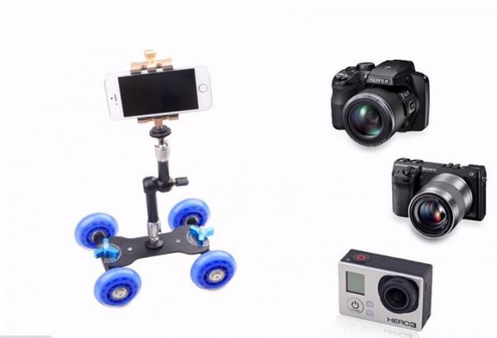 Mini Desktop Camera Rail Car Table Dolly Car Video Slider Track For canon 60d 650D 550D Blue