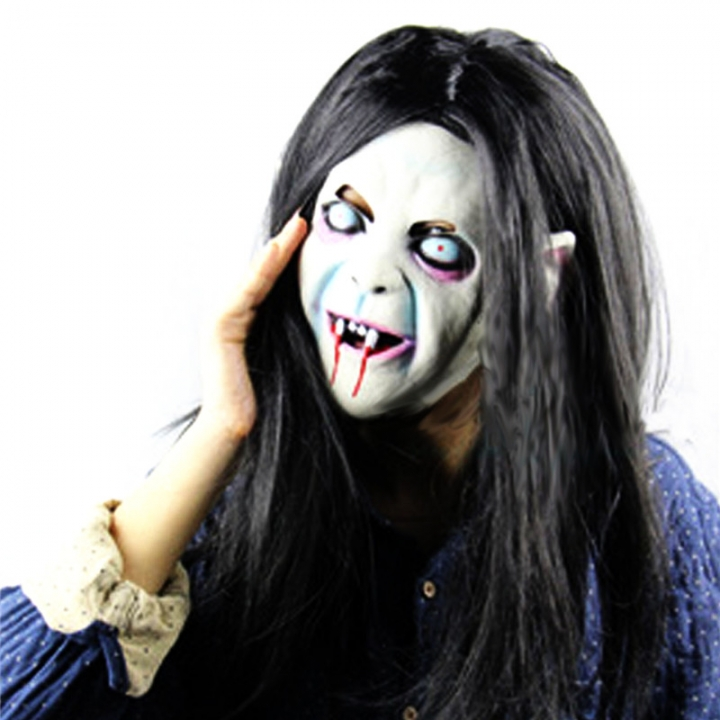 Horror Grudge Ghost Sadako Mask Headgear Halloween Masquerade  Latex Ghost Mask for Women Men At Picture Free Size