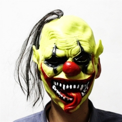 Green Face Christmas Halloween Clown Mask Dance Performances Props High-grade Soft Mask At Picture Free size