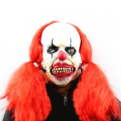 Big Red Braids Clown Performance Props Halloween Ghost Latex Mask Wholesale Funny Horror At picture Free size