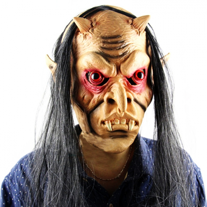 Horror Halloween Devil Mask Red Eyes with Wigs Latex Masks For Halloween Party At picture Free size