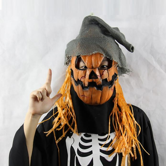 Halloween Party Mask Cosplay Mask Pumpkin Scarecrow Terror Mask Head Mask Macka At picture Free size