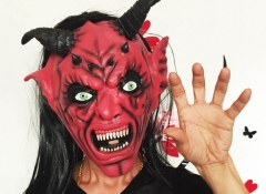 Horror Funny Satan Devil Latex Mask with Wig Ox Horn for Masquerade Halloween Party Bar At picture Free size