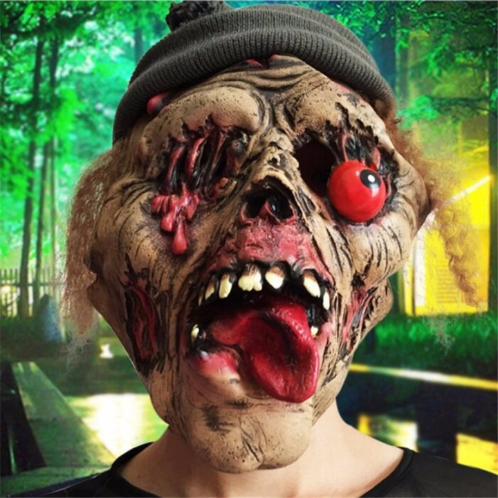 Halloween Terror Zombie Mask Grave Keeper Witch Monster Cosplay Mask Nausea Turtleneck Wacky Mask At picture Free size