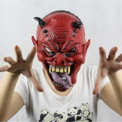 Halloween Mask Lifelike Beast Horns Yasha Hell Devil Halloween Christmas Bar Party  Latex Mask Aa picture Fee size