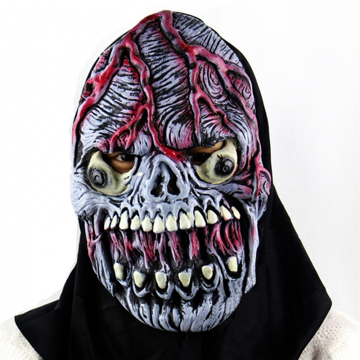 alloween Horror Masks Blast Eye Zombie Skull Costume Horror Latex Party Scary Mask Cosplay Prop At picture Free size