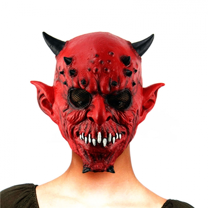 Party Animals Hell Horns Horror Ghost Haunted House Bar Hedging Latex Mask At picture Free size
