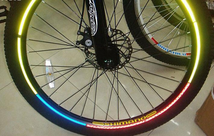 Reflective Stickers Motorcycle Bicycle Reflector Mountain Bike Cycling Security Wheel LED Light Yellow for Bike