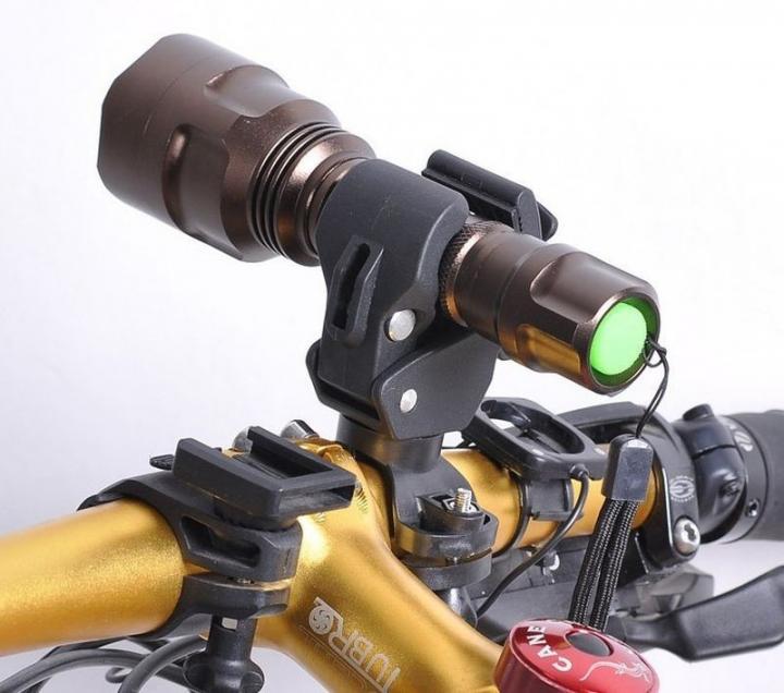 Bike Bicycle LED Flashlight Torch Bracket Mount Holder Front Light Clip Lamp Holder Mount Black