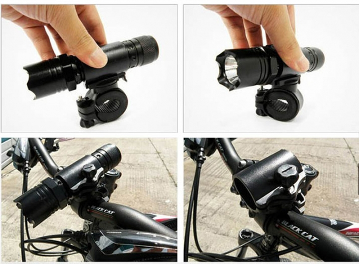 Cycling Bike Bicycle Light Lamp Stand Holder Rotation Grip LED Flashlight Torch Clamp Clip Mount Black
