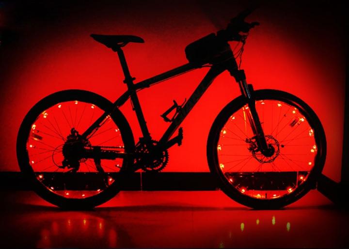 Outdoor LED Light Mountain Bike Wheels Lamp Discus Spokes Lamp Double Sense Lights Red for Bike