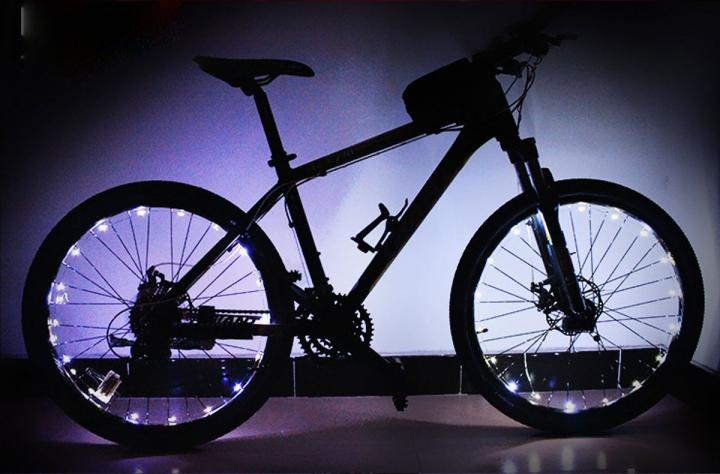 Outdoor LED Light Mountain Bike Wheels Lamp Discus Spokes Lamp Double Sense Lights White for Bike