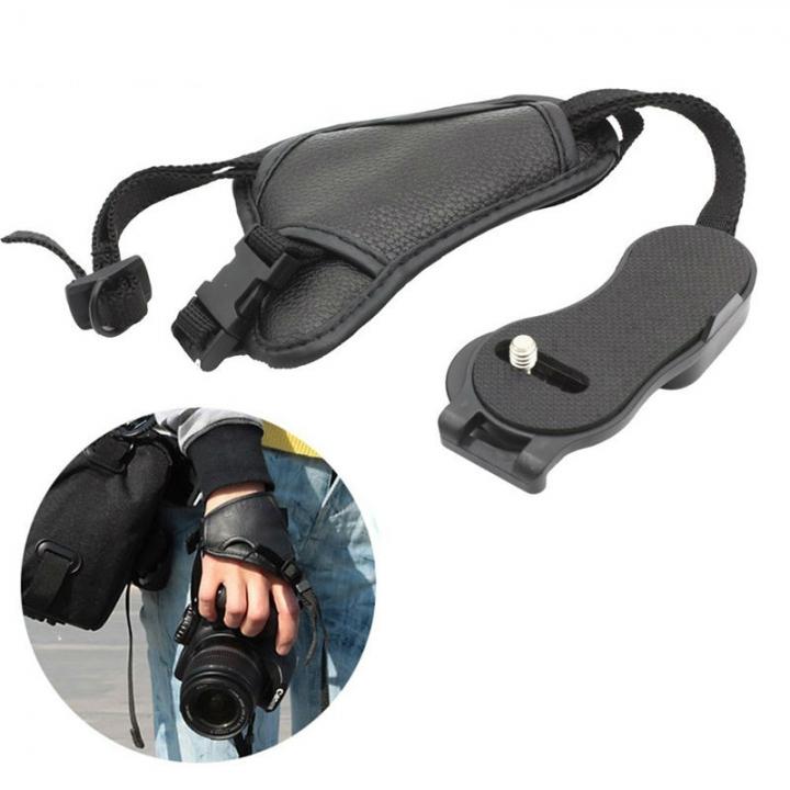 SLR Camera  Anti-skid Triangle Wrist Camera Wrist Band PU Leather Camera Hand Grip Wrist Strap Black