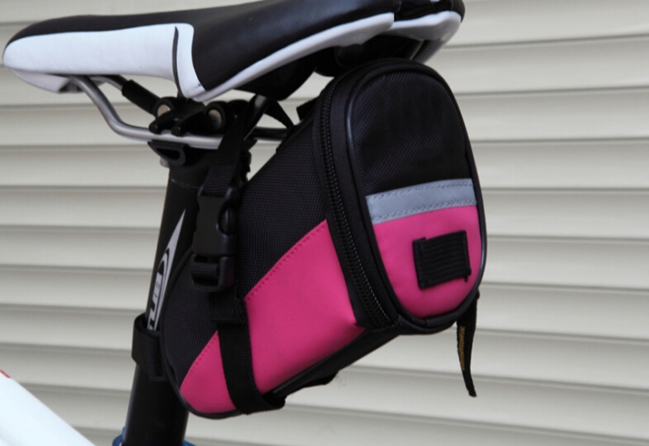 Bicycle Saddle Bag Bike Rear Bag Outdoor Sport Tool Bags Rose Red