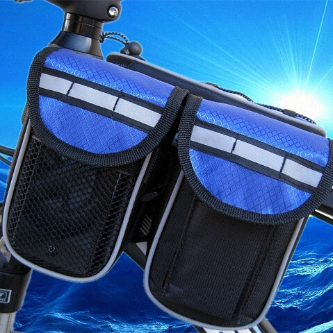 MTB Road Mountain Cycling Bike Bicycle Bags Cycling Packet Foldable Sports Cover Case Blue & Black