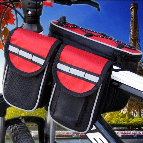 MTB Road Mountain Cycling Bike Bicycle Bags Cycling Packet Foldable Sports Cover Case Red & Black