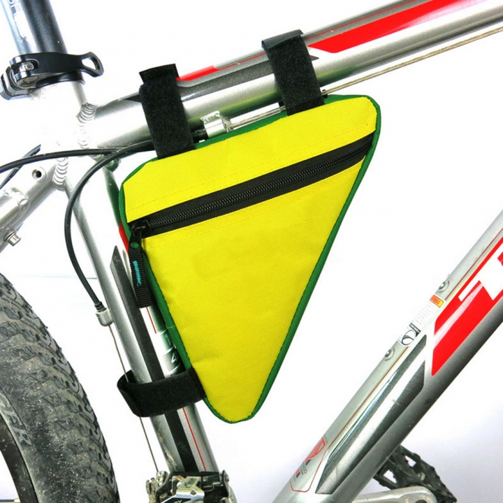 Waterproof Triangle Cycling Bicycle Bags Front Tube Frame Bag Mountain Triangle Holder Saddle Bag Yellow & Green