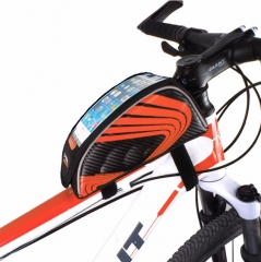 5.5 inch Outdoor Sport Touch Screen Phone Bag Bike Front Frame Bag MTB Mountain Bicycle Saddle Bag Orange