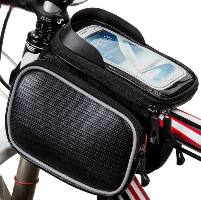 Bicycle Front Top Tube Bag Cycling Bike Frame Saddle Bag For Mobile Phone Waterproof Touchscreen At Picture