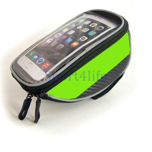 "Bike Bag Touchscreen Bicycle Bag Cycling Front Top Frame Handlebar Bag For 5.5"" Cellphone Green"